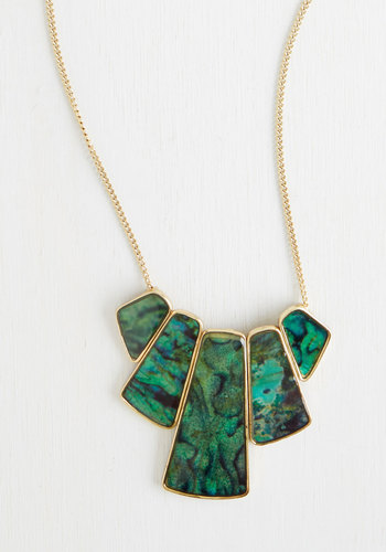Happily Ever Abalone Necklace - Green, Gold, Solid, Good, Statement, Gold, 60s, Party, Fall