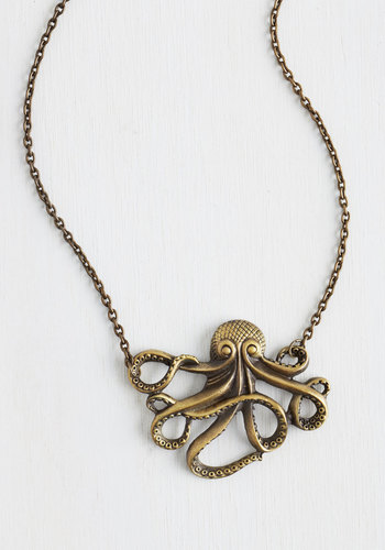 My Pet Octopus Necklace - Silver, Gold, Chain, Casual, Nautical, Best Seller, Variation, Print with Animals, Silver, Social Placements, Quirky, Press Placement, Critters, Good, As You Wish Sale, Top Rated