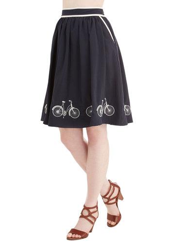 Seaside Ride Skirt - Good, Blue, Mid-length, Woven, Full, Spring, Summer, Blue, White, Novelty Print
