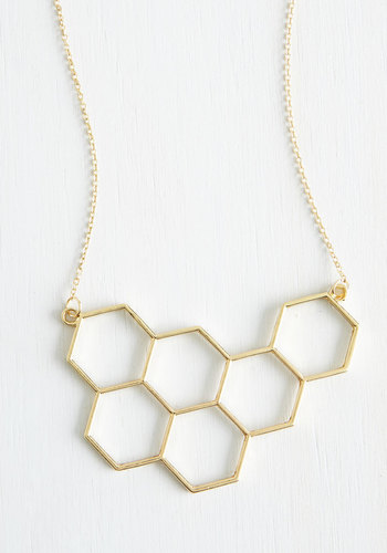 Nectar in Line Necklace - Solid, Cutout, Good, Gold, Minimal, Statement, Urban, Daytime Party, Spring, Top Rated, Summer