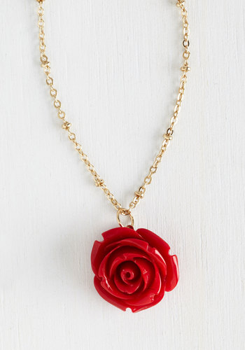 Retro Rosie Necklace in Red - Red, Gold, Flower, Party, Casual, Fairytale, Daytime Party, Nautical, Graduation, Valentine's, Spring, Best Seller, Gold, Under $20, As You Wish Sale, Gals, Americana, Top Rated
