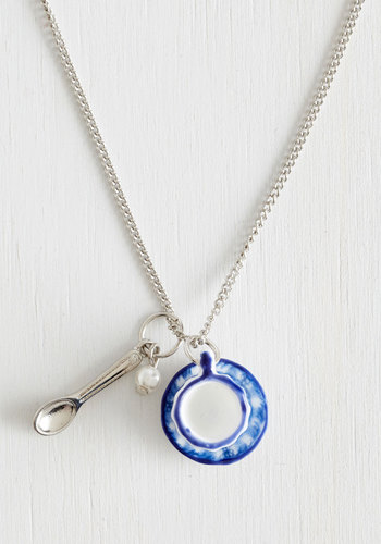 Cup the Ante Necklace - Fairytale, International Designer, Blue, White, Silver, Print, Silver