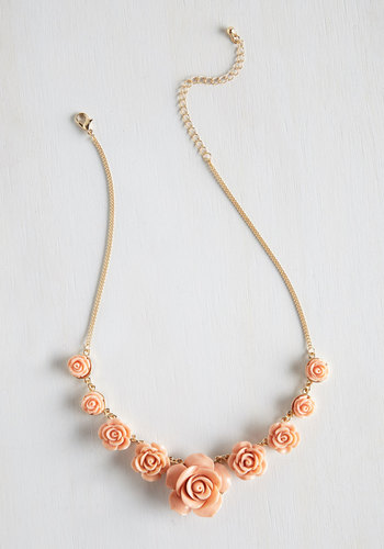 Bead of Roses Necklace in Petal - Coral, Solid, Flower, Wedding, Pastel, Darling, Gold, Good, Variation, Pink, Summer