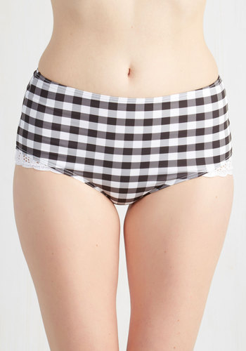 Remake: Beach Cruising Beauty Swimsuit Bottom - Black, White, Checkered / Gingham, Plaid, Lace, Beach/Resort, Rockabilly, Vintage Inspired, 50s, 60s, Exclusives, Private Label