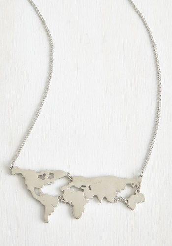 There's a Map for That Necklace in Silver - Silver, Solid, Good, Variation, Casual, Travel, Statement, Quirky, Scholastic/Collegiate, Silver, Best Seller, Graduation, 4th of July Sale, As You Wish Sale, Top Rated, Gifts2015, Exclusives