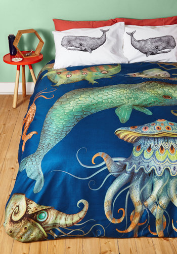 Creatures of the Whim-sea Duvet Cover in Full/Queen - Multi, Nautical, Best, Blue, Print with Animals, Dorm Decor