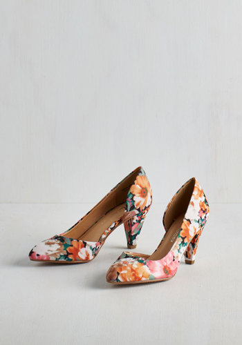 Treasure Stroll Heel in Floral by CL by Chinese Laundry - Mid, Multi, Floral, Print, Cutout, Spring, Summer