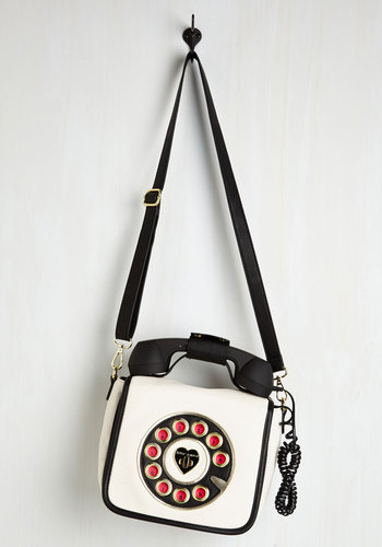 That's What I Call Style Bag in Blanc by Betsey Johnson - White, Black, Solid, Party, Casual, Girls Night Out, Quirky, Faux Leather