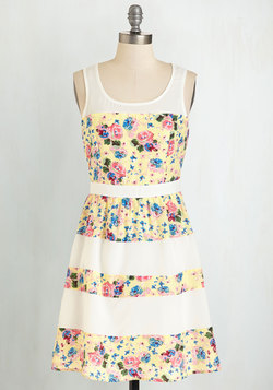 Stripes and Roses Dress in Buttercup