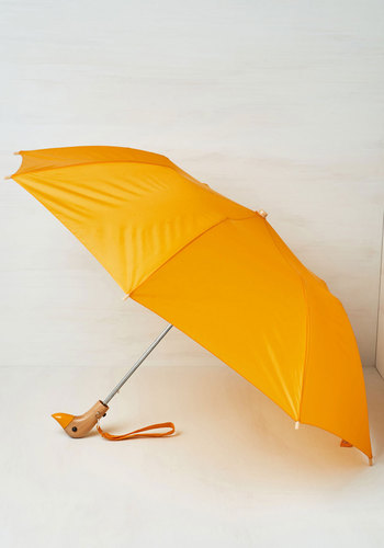 Duck, Duck, Umbrella in Yellow - Spring, Travel, Bird, Woodland Creature