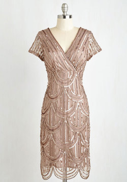 Cascading Cava Dress in Taupe