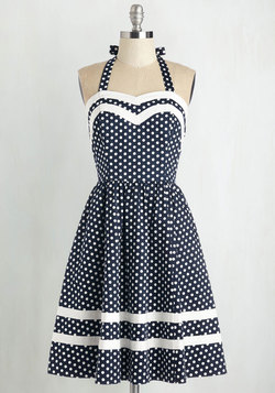Georgia Gallivanting Dress in Navy Dots