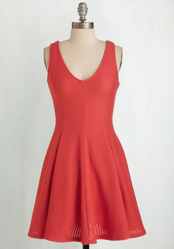 Flirty Dancing Dress - Knit, Red, Solid, Casual, Sleeveless, Mid-length, V Neck, Fit & Flare