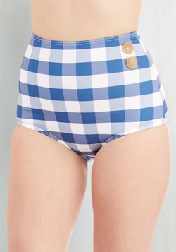 Pool Party Picnic Swimsuit Bottom in Blue Gingham