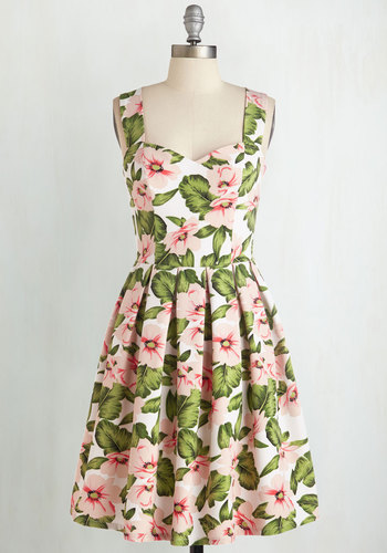 Poetic Presence Dress - Daytime Party, Multi, White, Floral, Print, Fit & Flare, Sleeveless, Spring, Good, Sweetheart, Mid-length