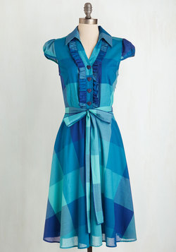 About the Artist Dress in Aqua Plaid