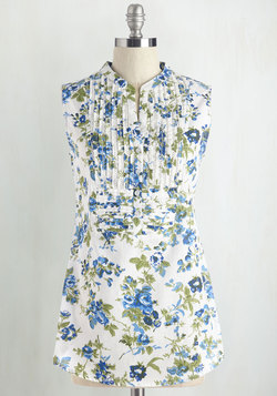 On Your Roam Time Tunic in Blue Garden