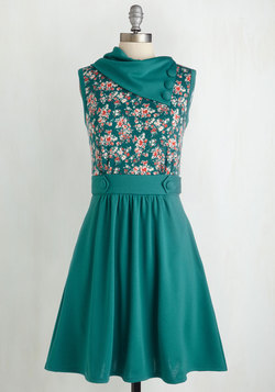Coach Tour Dress in Teal Garden