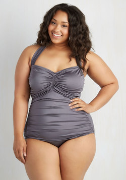 Bathing Beauty One-Piece Swimsuit in Pewter - Plus Size