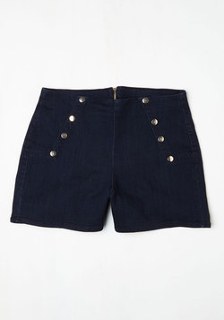 Sailorette the Seas Shorts in Dark Wash - Plus Size