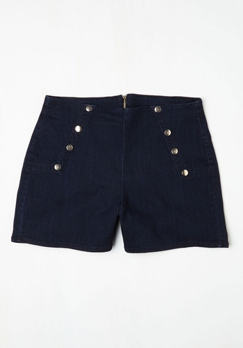 Sailorette the Seas Shorts in Dark Wash - Plus Size - Woven, Blue, Solid, Buttons, Casual, Nautical, Summer, Variation, Americana, Short, Good, Festival, Exposed zipper, Short, High Rise, Vintage Inspired, Best Seller, Best Seller