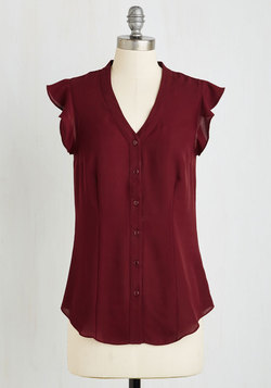 Thread and Flutter Top in Merlot