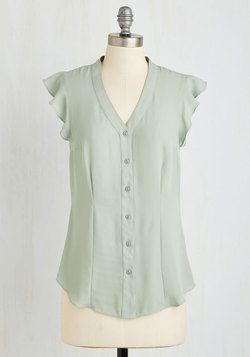 Thread and Flutter Top in Sage