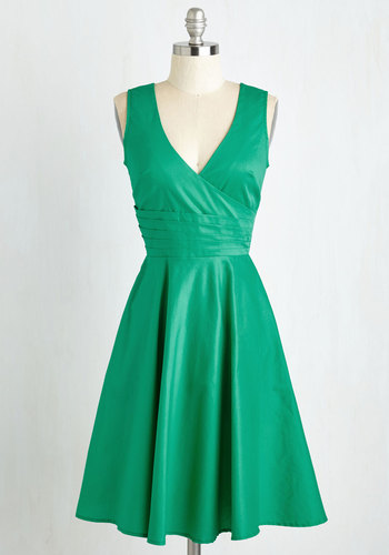 Beguiling Beauty Dress in Emerald - Green, Solid, Party, V Neck, Pleats, Bridesmaid, Sleeveless, Cotton, A-line, Variation, Mid-length