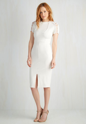 Nonpareil Panache Dress - Knit, White, Solid, Girls Night Out, Sheath, Short Sleeves, Better, Long