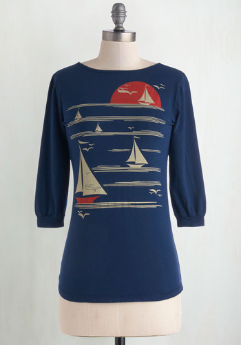 All's Fair in Love and Wharf Tee by Blue Platypus - Cotton, Blue, Novelty Print, Casual, Nautical, 3/4 Sleeve, Best Seller, Scoop, Blue, 3/4 Sleeve, Better, Mid-length, Good, 4th of July Sale