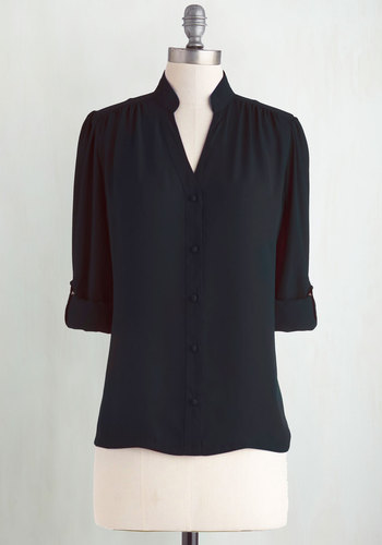 The Grand Tour Guide Top in Black - Chiffon, Sheer, Woven, Mid-length, Black, Solid, Buttons, Work, Long Sleeve, Exclusives, Variation, Private Label, Black, Tab Sleeve, Better