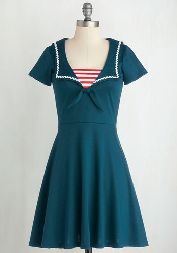 Savvy Sailor Dress - Blue, White, Trim, Casual, Nautical, A-line, Short Sleeves, Better, Collared, Knit, Red, Vintage Inspired, Full-Size Run, Mid-length, Top Rated