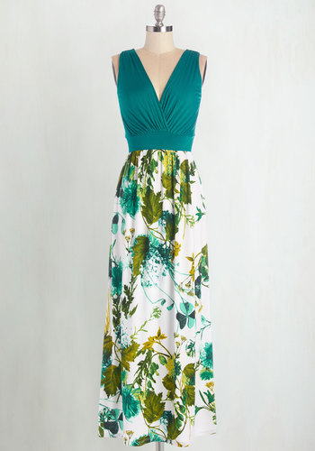 Fab Foliage Dress - Multi, Floral, Casual, Beach/Resort, Maxi, Sleeveless, Summer, Knit, Good, V Neck, Long, Green