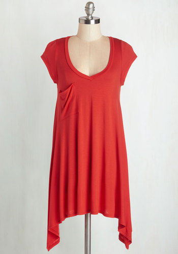 A Crush on Casual Tunic in Tomato - Red, Short Sleeve, Jersey, Knit, Red, Solid, Handkerchief, Pockets, Casual, Cap Sleeves, Variation, V Neck, Long, Top Rated