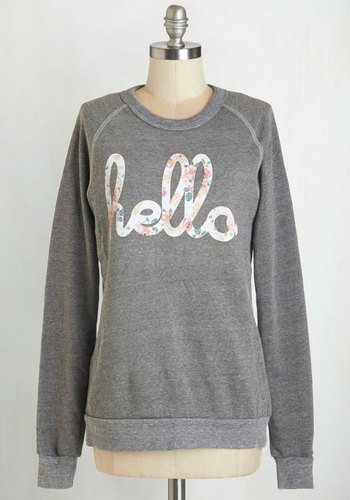 Howdy Do Sweatshirt in Grey - Grey, Long Sleeve, Mid-length, Knit, Grey, Novelty Print, Casual, Darling, Sweatshirt, Long Sleeve, Variation, Crew, Spring, Gals, Sayings, Exclusives