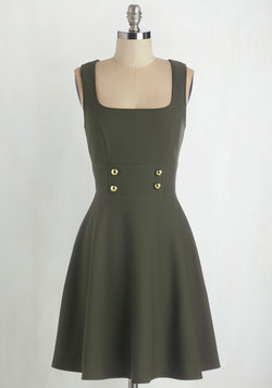 Delightfully Charming Dress in Olive