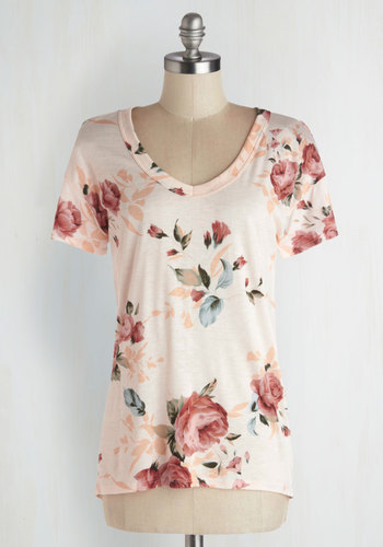 Florist's Apprentice Tee in Ivory - Jersey, Knit, Pink, Floral, Casual, Short Sleeves, Spring, Pink, Short Sleeve, Summer, Good, Mid-length