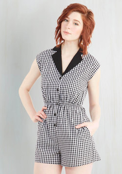 Read It and Steep Romper in Gingham