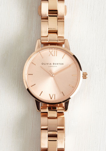 Teacup and Running Watch in Rose - Midi by Olivia Burton - Solid, Luxe, Gold, International Designer, Gals, Press Placement, Summer