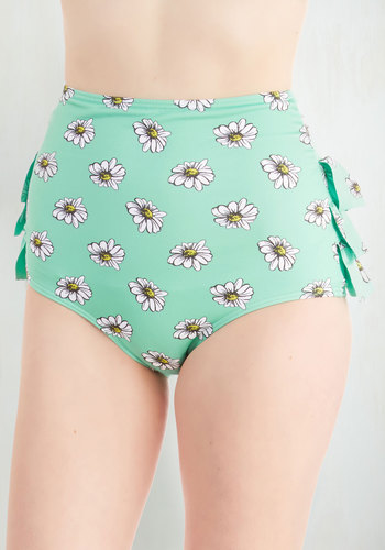 Vacation Daisies Swimsuit Bottom in Mint - Green, Multi, Floral, Ruffles, Beach/Resort, High Waist, Summer, Knit, Exclusives, Press Placement, Vintage Inspired, 60s, Pastel, Mint, Private Label
