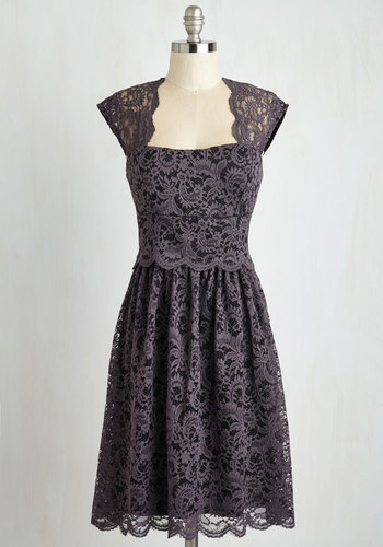 Refined the Way Lace Dress - Knit, Lace, Solid, Cutout, Lace, Scallops, Wedding, Party, Cocktail, Bridesmaid, A-line, Cap Sleeves, Mid-length, Purple, Vintage Inspired, Homecoming