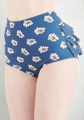 Vacation Daisies Swimsuit Bottom in Navy
