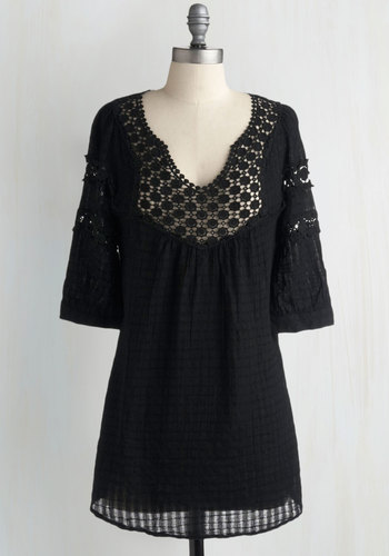 Houseboat Tunic in Black - Black, Eyelet, Lace, Casual, Long, Boho, Cotton, Black, 3/4 Sleeve, Lace, Cover-up, Festival, Best Seller, Maternity, Good, 4th of July Sale