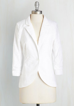 Fine and Sandy Blazer in White Eyelet