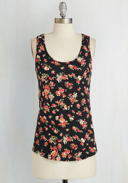 Four Squared Away Top in Black Floral