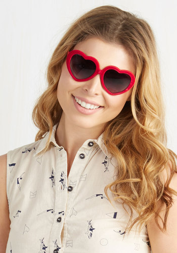 Looking for Love Sunglasses - Red, Solid, Beach/Resort, Kawaii, Quirky, Summer, Valentine's, Statement, Party, As You Wish Sale, Americana, Top Rated