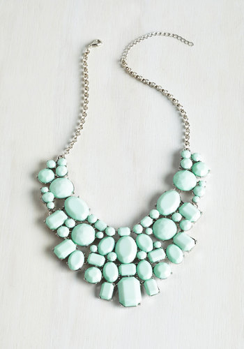 Surefire Statement Necklace - Mint, Solid, Wedding, Statement, Good, Special Occasion, Spring, Pastel