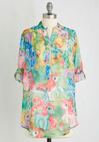 My Little Pretty Tunic - Chiffon, Sheer, Woven, Long, Multi, Novelty Print, Buttons, Pockets, Casual, Vintage Inspired, 80s, 90s, Neon, Quirky, Better, Multi, Tab Sleeve, Kawaii, 3/4 Sleeve, Statement, Summer, Good, Halloween, Top Rated