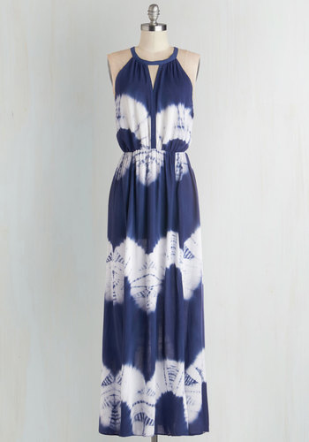 Ink Positively Dress in Tie Dye - Blue, White, Casual, Maxi, Better, Scoop, Woven, Tie Dye, Sleeveless, Boho, Festival, Summer, Long, Beach/Resort, Top Rated