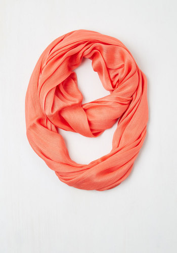 Brighten Up Circle Scarf in Sunset - Solid, Minimal, Sheer, Coral, Basic, Social Placements, Fall, Winter, Gals